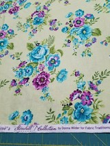 Fabric-Light Green Purple Turquoise Floral-Fabric Traditions-Stonehill - $6.80