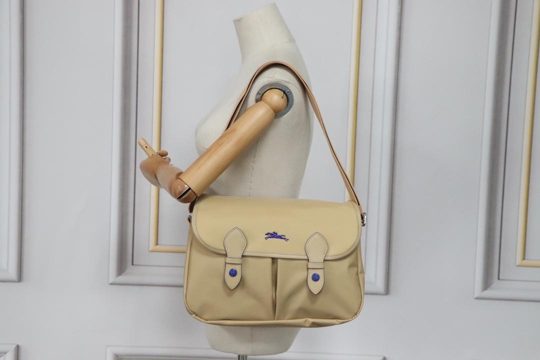 Longchamp Le Pliage CLUB Crossbody Bag Satchel Adjustable Strap Beige
