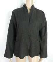 Eileen Fisher Dark Brown Herringbone Textured Wool Tweed Blazer Suit Jac... - $23.38