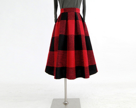 RED PLAID Women Midi Skirt Autumn Classic Plus Size Flannel Long Plaid Skirts image 4