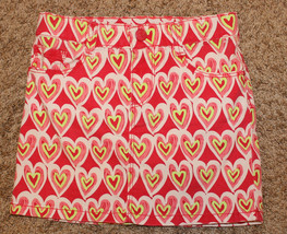 GYMBOREE RED GREEN WHITE HEARTS SKIRT JEAN STYLE POCKETS BUTTON ZIP CLOS... - $3.99