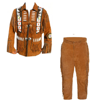New Men's Native American Buckskin Brown Suede Leather Jacket & Pant WS13 - $197.01+