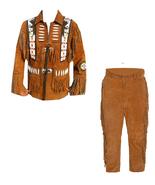New Men's Native American Buckskin Brown Suede Leather Jacket & Pant WS13 - $197.01+