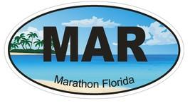 Marathon Florida Oval Bumper Sticker or Helmet Sticker D1241 Euro Oval - $1.39+
