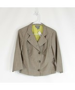 Taupe brown pinstripe wool blend ECCOCI blazer jacket 6 - $74.99