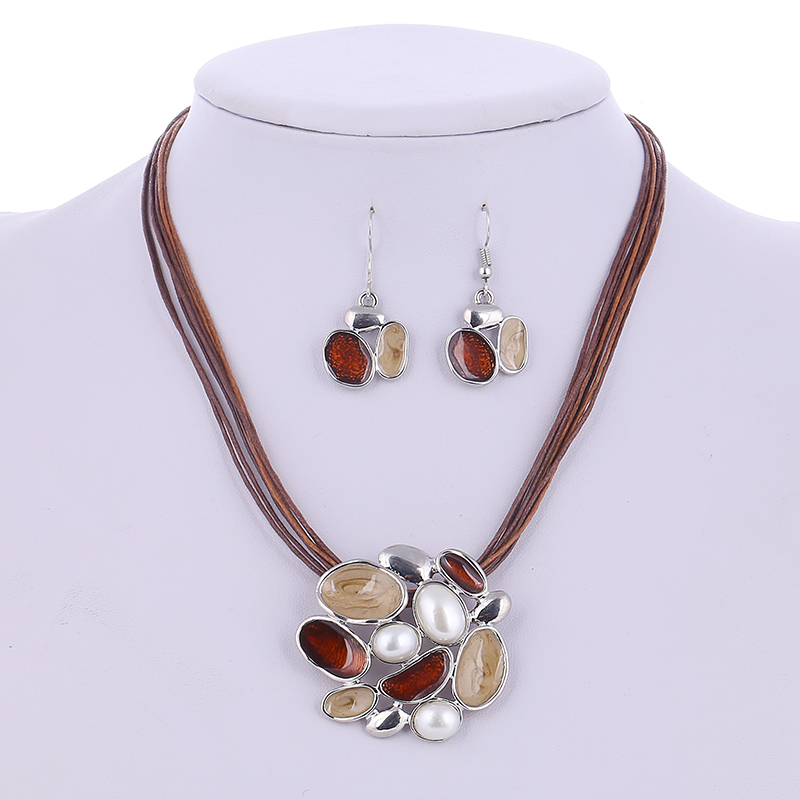 Primary image for Summer Enamel Delicate Jewelry Sets Multi Layers Leather Silver Plated