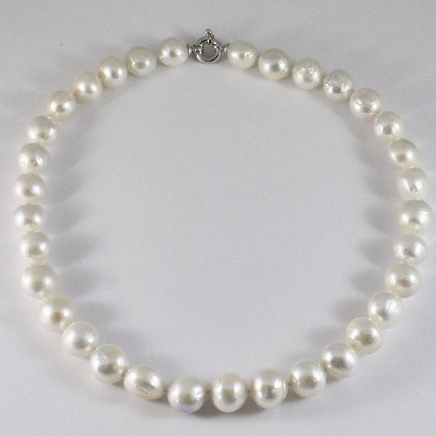 NECKLACE STRING OF PEARLS BAROQUE STYLE 11 13 MM WITH CLOSURE WHITE GOLD 18K