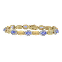 0.75 Carat Diamond and 4.50 Carat Tanzanite 14K Yellow Gold Fancy Link Bracelet - $2,276.01