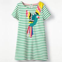 NEW Parrot Girls Green Striped Short Sleeve Shift Dress 2T 3T 4T 5T - $12.99
