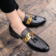 Men Flat Black Golden Patchwork PU Leather Loafer Dress Shoes - $25.95+