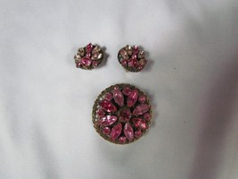 Vintage Dark and Light Pink Rhinestones Set Brooch or Pendant and Clip E... - $26.59