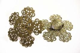 2pc antique bronze flower adjustable ring shanks-9226 - $1.50