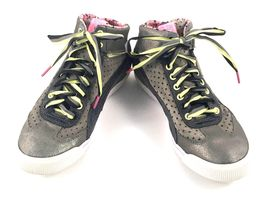 PUMA Women's Size US 7.5 Metallic Gray Pink Green High Top Sneakers Rubber Shoes - $35.00
