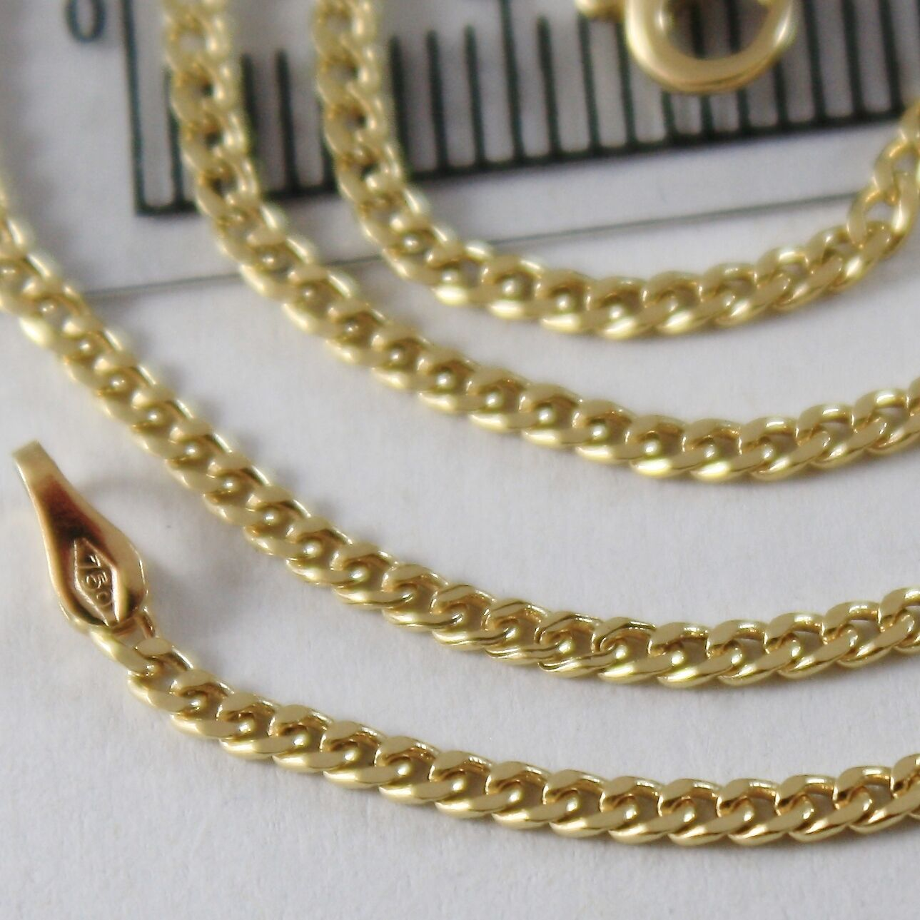 Yellow Gold Chain 750 18k, 45 cm, mini grumetta, groumette, Diameter 1.5 MM