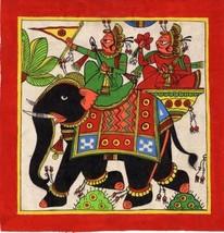 Rajasthani Phad Painting Handmade Indian Folk Miniature Royal Elephant W... - $74.99