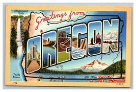 Vintage CT Art Colortone Postcard Greetings From Oregon UNPOSTED - $10.86