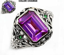 3CT Alexandrite & Emerald Quartz 925 Sterling Silver Art Nouveau Ring Sz... - $29.69