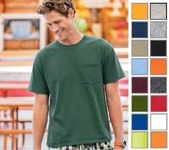 Fruit of the Loom HD Ribbed Collar W/Pocket T-Shirt 3930P 3930PR 3930-18 COLORS! - $9.99+