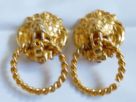VTG Gold Tone metal Lion Head Door Knob Hoop Dangle Clip Earrings - $29.45