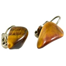 Polished Tiger's Eye Brown & Gold Pebble Stone Rock Clip-On Earrings image 2