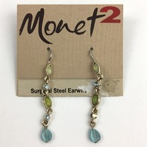 Monet 2 Deep Sea Dainty Dangle Earrings Green Blue Cabochon Crystal Simp... - $12.58