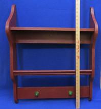 Wood Wall Shelf Handmade 2 Tiers w/ 2 Green Glass Handles Pegs Red Wooden - $34.64