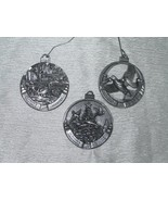 Lot of 3 Small Pewter Birds & Blooms & Country Season's Greetings Christ... - $8.59