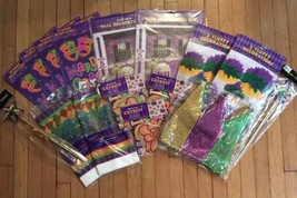MARDI GRAS EVENT Decorations 97 Piece Party Kit Wall/Table/Window/Ceilin... - $46.75