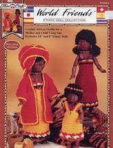 African Doll Outfits Fibre Craft World Friends Crochet Pattern HTF RARE - $9.87