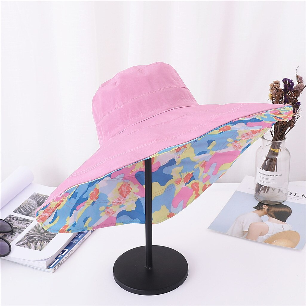 chapeau femme ete Women's Summer Hat Casual Solid Wide Brimmed Floppy Foldable B image 5