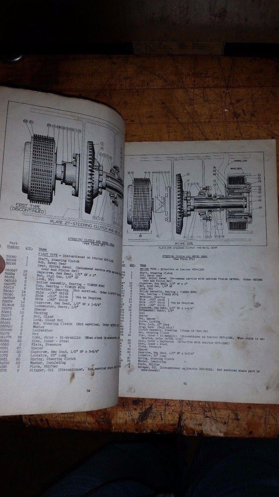 Original Allis-Chalmers HD 7 Crawler Tractor repair Parts List Manual tpl-129c