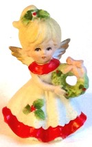 Homco Christmas Angel Girl Figurine Holding Wreath Porcelain #5402 Hand Painted - $14.80