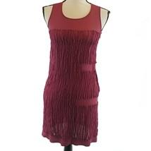 Liviana Conti Womens Dress Size 4 US Bordeaux Red Sleeveless Sheer Tiny ... - $16.82