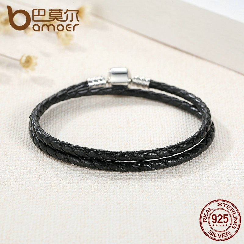 BAMOER Fashion 925 Sterling Silver Black Snake Chain Adjustable Bracelets for Wo