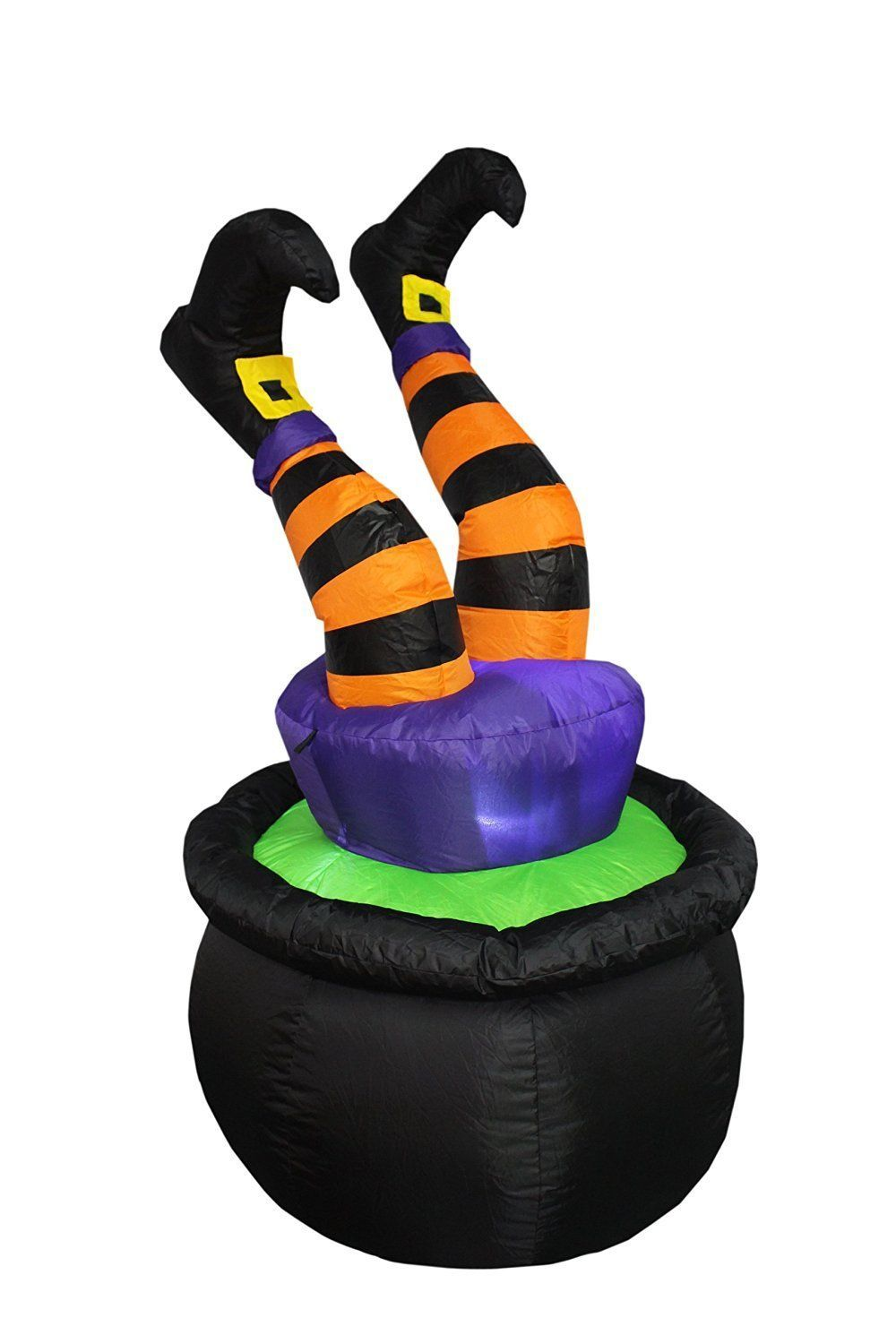 Halloween Inflatable Witch Legs in Cauldron Lighted Inflatable - 4 Foot