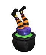 Halloween Inflatable Witch Legs in Cauldron Lighted Inflatable - 4 Foot - $59.99
