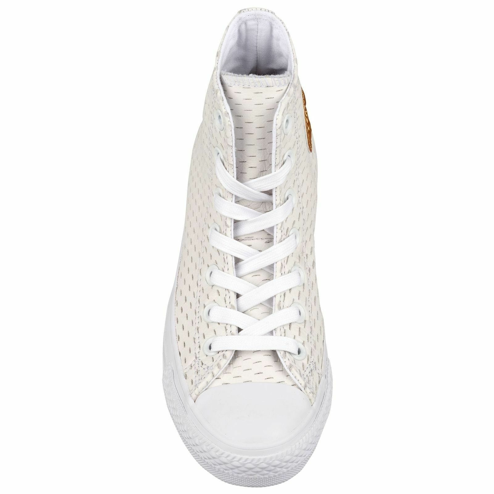 Converse All Star Leather High White Out Pack White/Gold 153115C Mens Shoe image 4