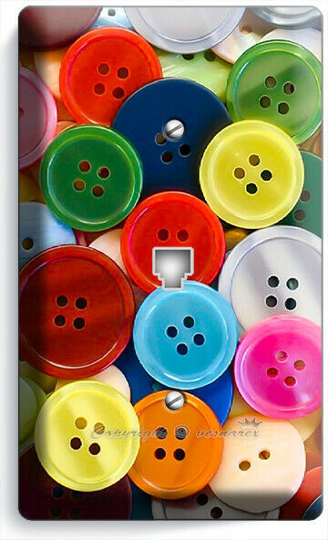 COLORFUL BUTTONS PHONE TELEPHONE COVER PLATE SEWING HOBBY TAILOR STUDIO SHOP ART