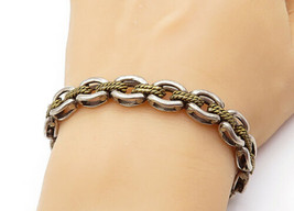 MEXICO 925 Silver - Vintage Two Tone Rope Twist Link Chain Bracelet - B7399 - $84.70