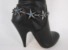 Women Fashion Boot Chains Bracelet Strap Silver Metal Turquoise Stars Shoe Charm - $18.61