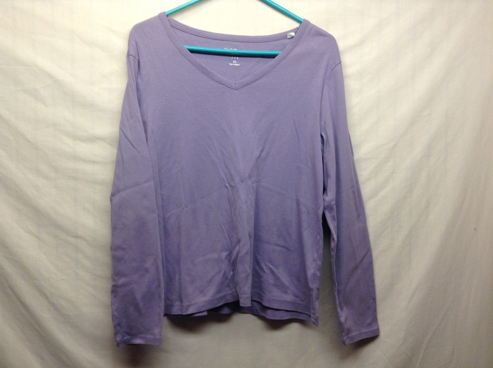 Croft & Barrow Lt Purple Long Sleeve V Neck Pullover Sz XL