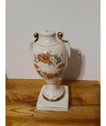 "Vintage 10"" LAMP Base Shell/GEORGELYN SUNSET POPPY/ Antique  - $23.38"