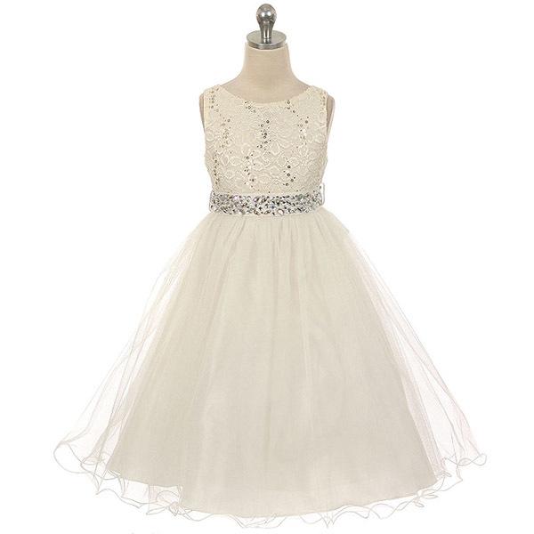 Yellow Sequin Bodice Double Layers Tulle Skirt Rhinestones Flower Girl Dress