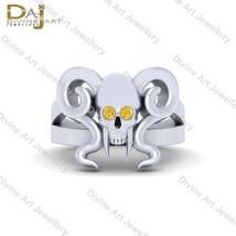 Vampire Horn Skull Ring Womens 0.08ct Yellow Diamond Geeky Promise Ring ... - £102.77 GBP+