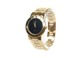 Auth GUCCI 3300L Black Dial Gold Pleated Band Ladies Watch GW16384L - $370.21 CAD