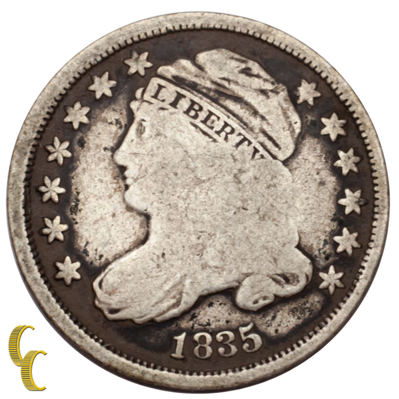 1835 Silver Capped Bust Dime 10C (Very Good, VG Condition)