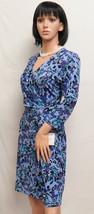 ELLEN TRACY Petal Soiree Purple & Blue Faux Wrap Stretch Dress M NWT - $79.00