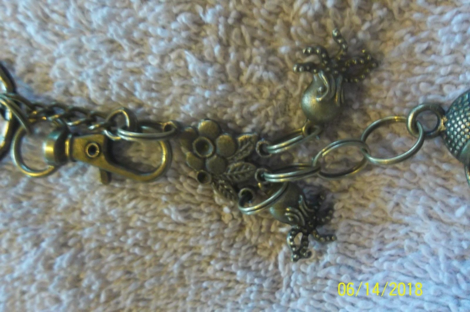 #purse jewelry bronze color keychain backpack filigree charms lot of 3 floral 21 image 8