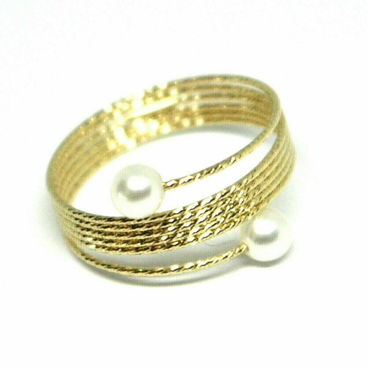 Yellow Gold Ring Or White Or Pink 18K, Multi Wires Elastic with Pearls,
