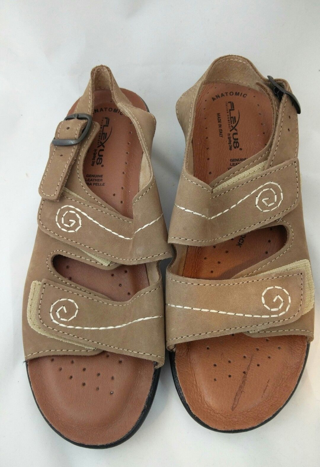 Flexus by Spring Step Womens 38 (7.5 - 8) Belamar Beige Open Toe Nubuck Sandal